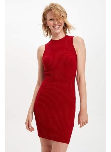 DeFacto Kolsuz Slim Fit Triko Elbise Kırmızı